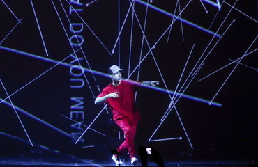 Bieber performs during the MTV EMA awards at the Assago forum in Milan