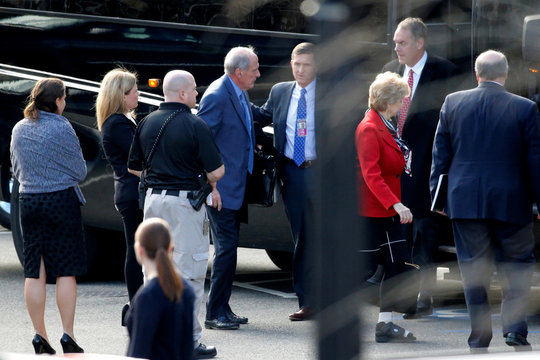 Incoming Trump administration cabinet secretary nominees including Coats, Flynn, McMahon and Zinke arrive for meetings at the Eisenhower Executive Office Building at the White House in Washington