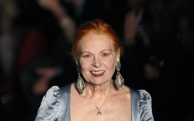 Designer Vivienne Westwood walks on the catwalk following her Fall/Winter 2011 collection at London Fashion Week