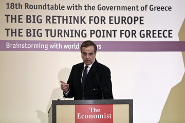 "Greece's PM Samaras addresses the audience during the Economist conference on ""The big rethink for Europe, the big turning point for Greece"" in Athens"