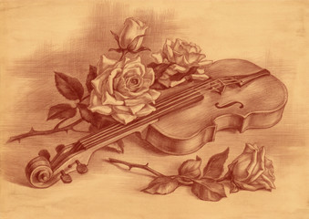 Скрипка и розы, натюрморт, рисунок на коричневой старой бумаге.