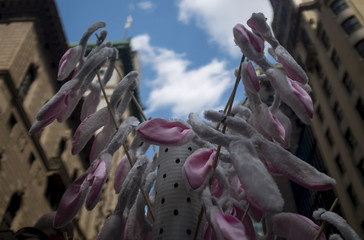 Bunny ears for sale are displayed at the Easter Parade and Bonnet Festival along 5th Avenue in New York City