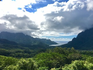 Beautiful view from the Belvedere at Cook's Bay and Opunohu Bay, Moorea, Tahiti, French Polynesia