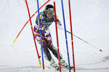 Jansrud of Norway competes in slalom run of men's Alpine Skiing World Cup super combined race in Kitzbuehel
