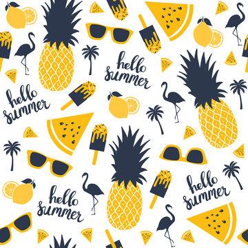 Summer pattern. Watermelon, pineapple. Vector illustration