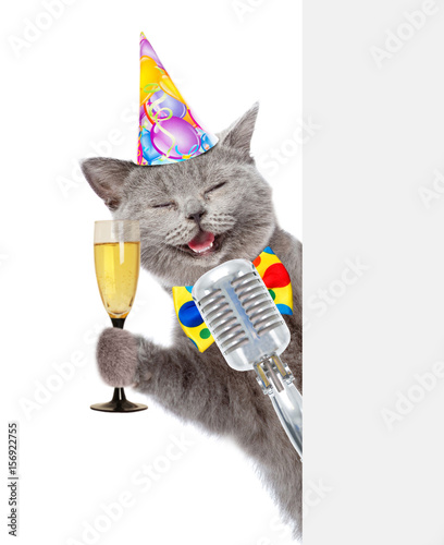 Cat In Birthday Hat Holds Retro Microphone And Glass Of Champagne Isolated On White Background