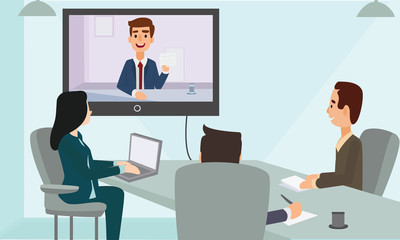 Business people web conference meeting in office. Corporate people looking at screen. Video Conferencing  Concept Illustration Vector.