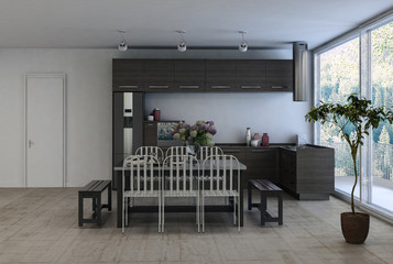 Contemporary fitted kitchen and dining area