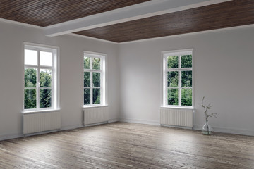 Empty bright room with wood floor and ceiling