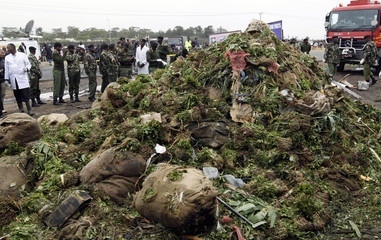 Large pile of khat is seen after being pulled from the wreckage of a cargo plane that crashed into a commercial building on outskirts of Nairobi