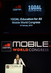 """Queen Rania Al Abdullah of Jordan speaks about the """"1GOAL: Education for All"""" campaign at the Mobile World Congress in Barcelona"""