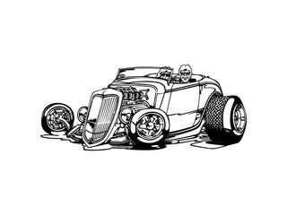 Vector - retro, hot-rod with big motor , isolated on background