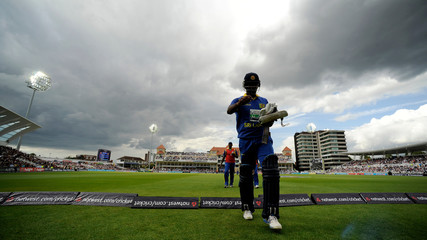 Sri Lanka's Mathews leaves the field after being dismissed during the fourth one-day international cricket match against England at Trent Bridge in Nottingham