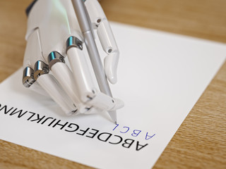 Robot Trying to Reproduce Letters on Sheet of Paper. Artificial Intelligence and Machine Learning Concept 3d Illustration
