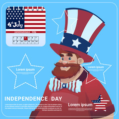 Man Wear United States Flag Colored Flag Independence Day Holiday 4 July Banner Greeting Card Flat Vector Illustration