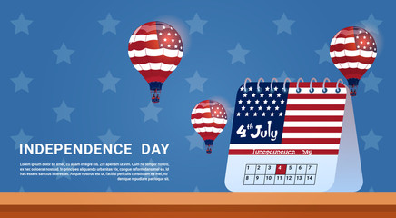 Calendar 4 July United States Independence Day Holiday Banner Greeting Card Flat Vector Illustration