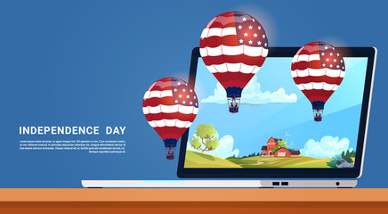 United States Flag Colored Air Balloons Flying From Tablet Computer Independence Day Holiday 4 July Banner Greeting Card Flat Vector Illustration