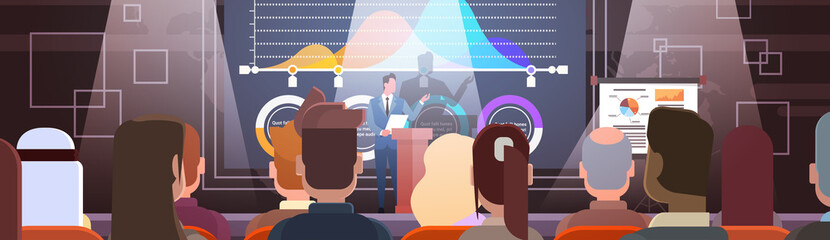 Business People Group at Conference Meeting Training Courses Flip Chart with Graph Flat Vector Illustration
