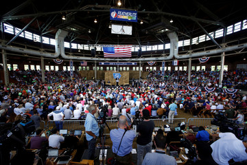 Republican presidential nominee Donald Trump speaks at Iowa Senator Joni Ernst's Roast and Ride at the Iowa State Fairgrounds in Des Moines