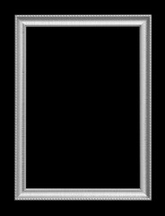 The antique silver frame isolated on black background