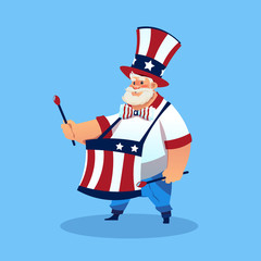 Man Wearing American Flag Colored Hat Play Drums Celebrate United States Independence Day Holiday Flat Vector Illustration