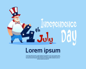 Man Wearing American Flag Colored Hat United States Independence Day Holiday Flat Vector Illustration