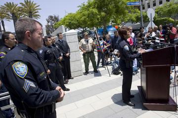 Santa Monica Police Chief Seabrooks speaks to reporters regarding yesterday's shooting spree in Santa Monica, California