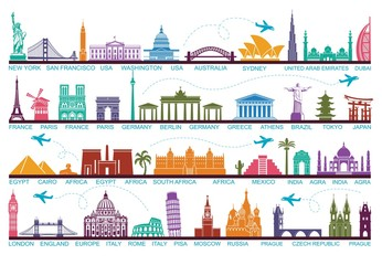 Icons world tourist attractions. The symbols travel around the world. Landmark and attractions Wall mural