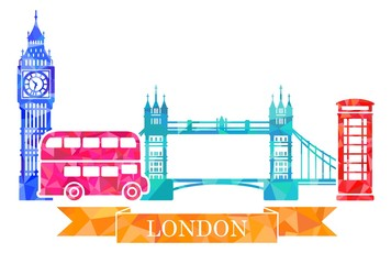 Traditional symbols of London in polygonal style. Big Ben, tower bridge, double-Decker, red telephone box