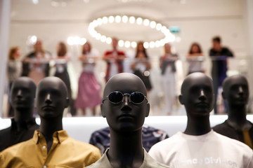 Mannequins are seen at the Swedish fashion retailer H&M store on its opening day in central Moscow