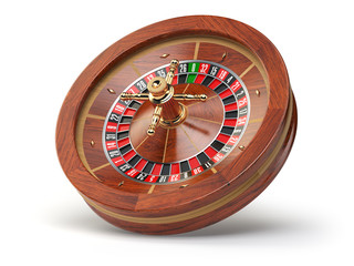 Casino roulette wheel isolated on white background.