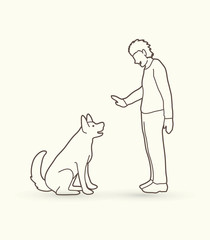 Dog training , A man training a dog outline stroke graphic vector.