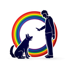 Dog training , A man training a dog designed on line rainbows background graphic vector.