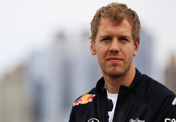Formula One defending world champion Vettel looks on during a news conference in Weehawken