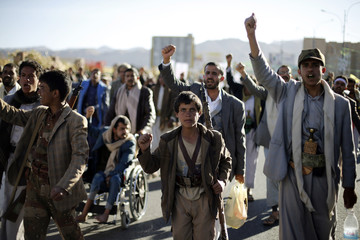 Followers of the Houthi movement demonstrate to show their support in Sanaa