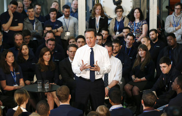 Britain's Prime Minister David Cameron speaks at an election campaign event at the National Grid Training Centre in Newark, in central England
