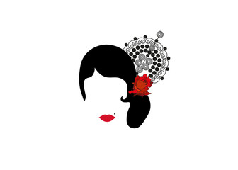 Portrait of modern Latin or Spanish woman, Lady with accessories and red rose ,Icon isolated, Vector illustration transparent background