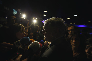 Portugal Telecom CEO Joao de Mello Franco speaks with the media before the general meeting of shareholders at Portugal Telecom headquarters in Lisbon