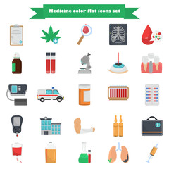 Set of medicine color flat icons for web and mobile design