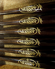 Hillerich & Bradsby's Louisville Slugger launches a new logo after 33 years on all new baseball bats for the upcoming season at the Louisville Slugger plant in Louisville