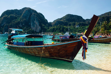 Long tail boat on the beach in Koh Phi Phi, Thailand