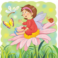 A cute fairy sitting on a flower. Fairy tale. Coloring book. Coloring page. Illustration for children. Funny cartoon characters