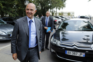 French Finance Minister Moscovici arrives at the French employer's body MEDEF union summer forum in Jouy-en-Josas