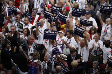 Delegates cheer during the nomination process for Republican U.S. Presidential candidate Donald Trump at the Republican National Convention in Cleveland, Ohio