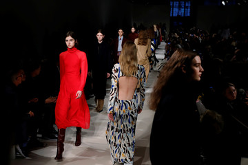 Models present creations from the Victoria Beckham Fall/Winter 2017 collection during New York Fashion Week in the Manhattan borough of New York