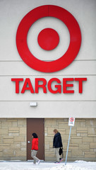 Employees arrive for work at a Target store in St. Albert, Alberta