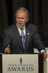 Former President George W. Bush speaks after receiving The 74th Annual Father of the Year Award in New York