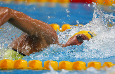 Sjostrom of Sweden competes in the women's 100m freestyle heat at the Aquatics World Championships in Kazan