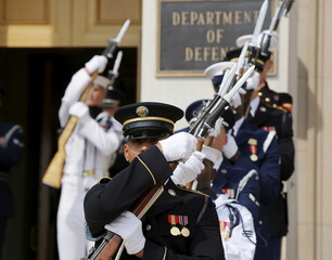 US military honor guard readies itself before welcoming of Vice-Chairman of the Central Military Commission General Fan Changlong at the Pentagon in Washington