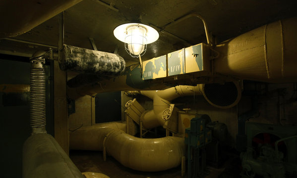 Air ducts are seen in the former Soviet Army nuclear weapons depot near the village of Misov